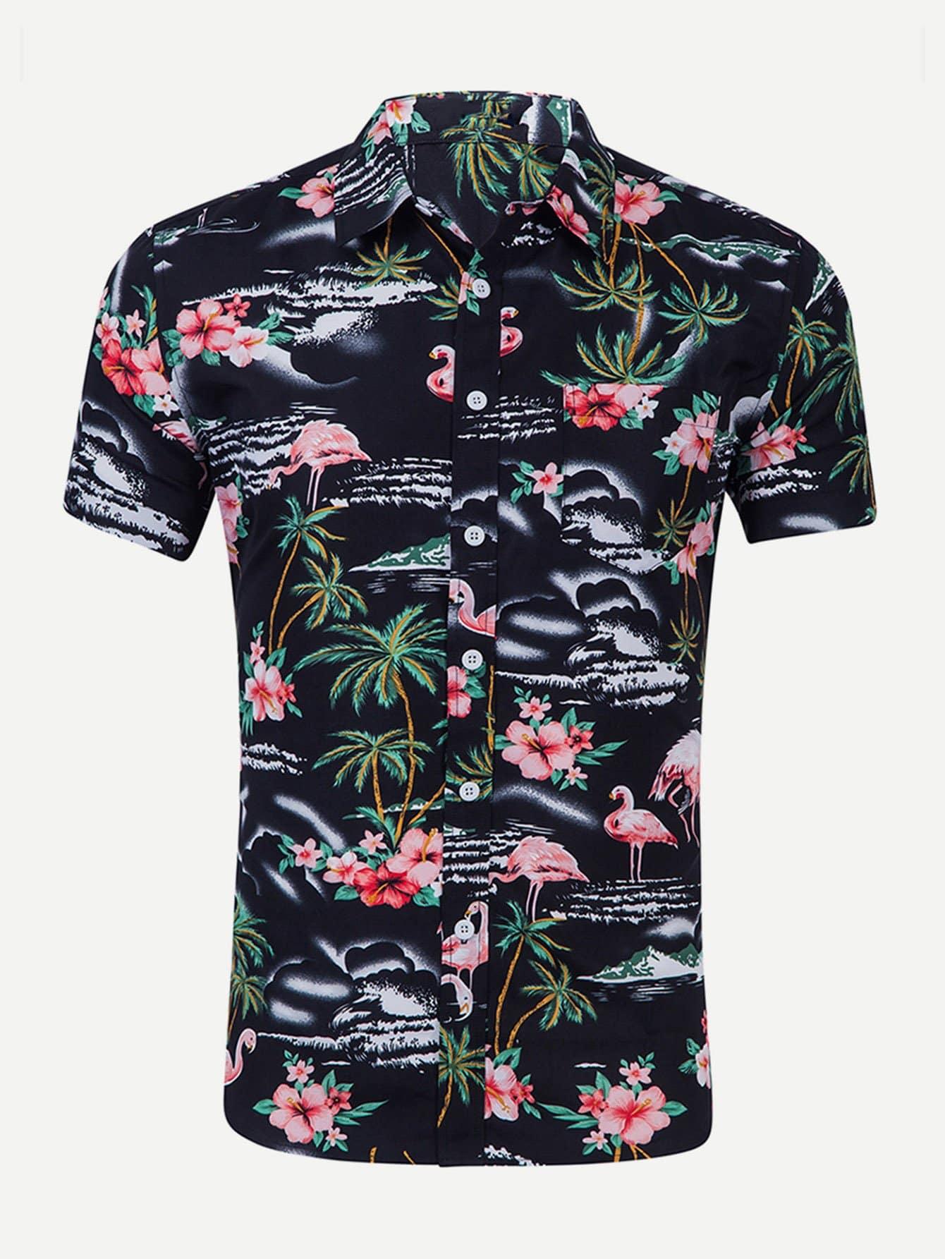 Men Flamingo And Floral Print Shirt майка print bar highway bandits