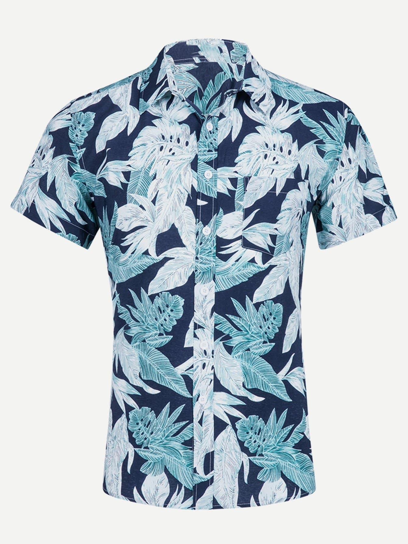 Men Tropical Print Shirt майка print bar highway bandits