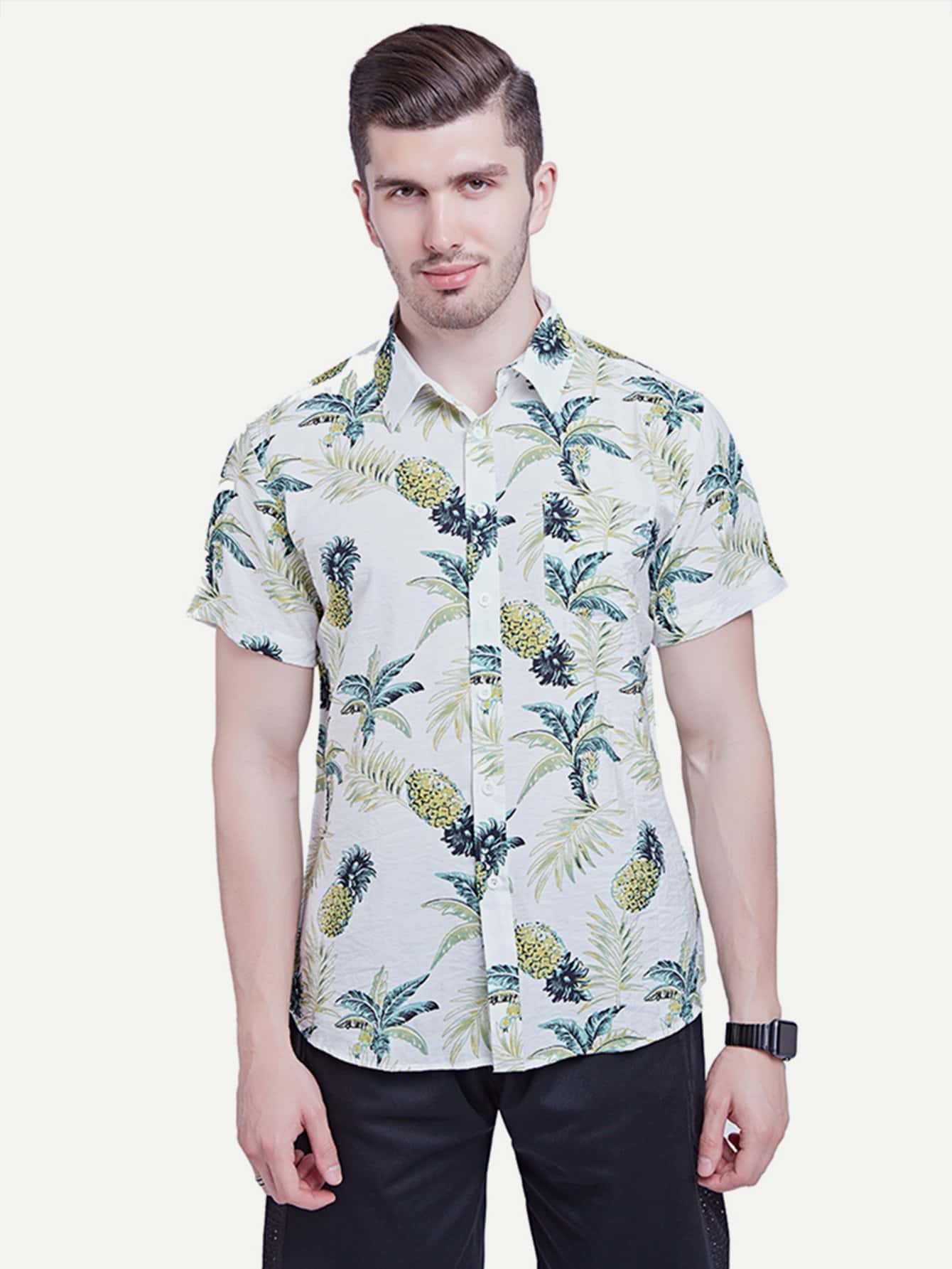 Men Pineapple Print Shirt майка print bar highway bandits