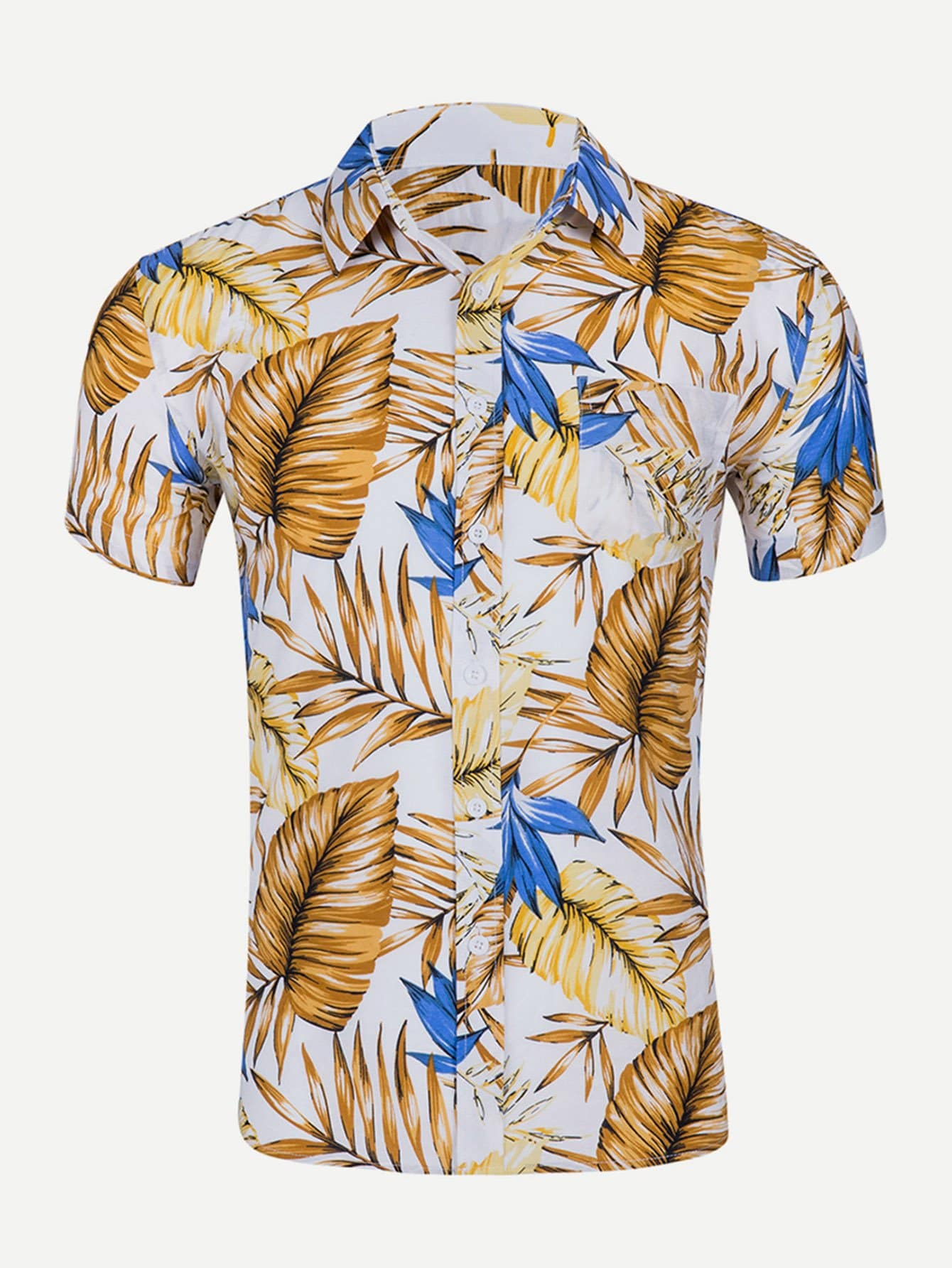 Men Leaf Print Collar Shirt майка print bar highway bandits