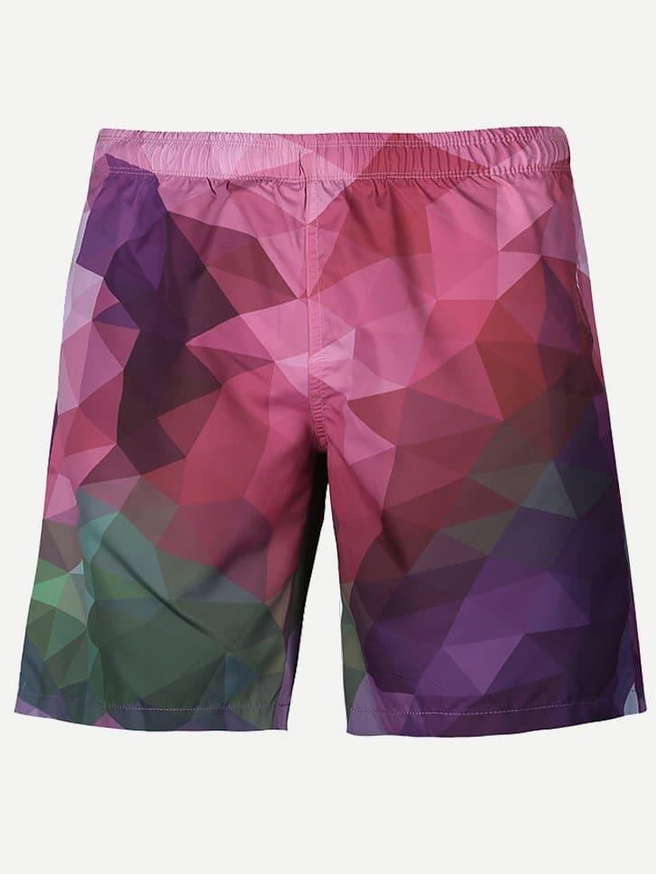 Men Geometric Print Shorts shorts gas shorts