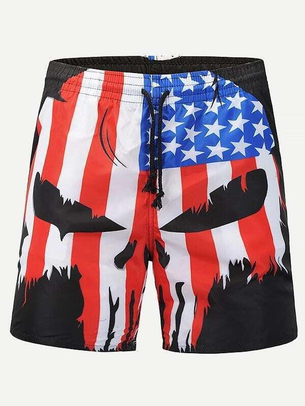 Men Star Print Striped Shorts g star raw d02012 6610 3372