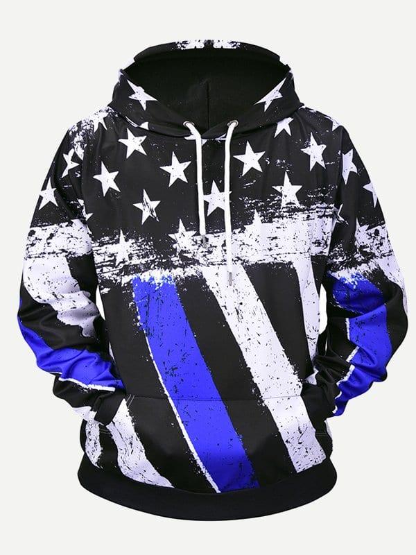 Men Star Print Striped Hooded Sweatshirt g star raw d02012 6610 3372