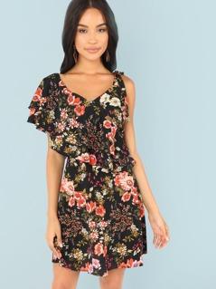 Asymmetrical Sleeve Botanical Print Dress