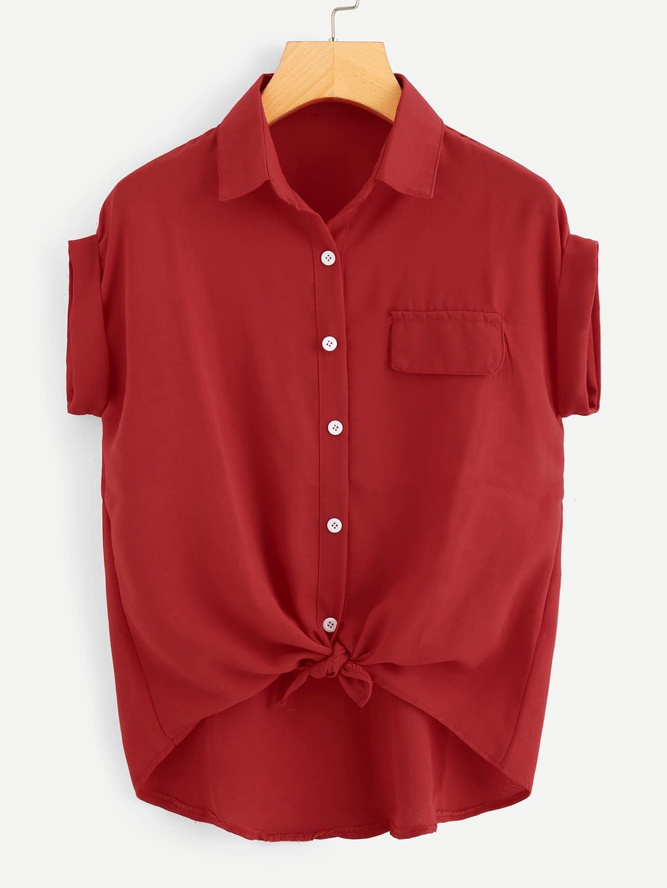 Купить Повседневный Одноцветный Пуговица Красный Блузы+рубашки, null, SheIn