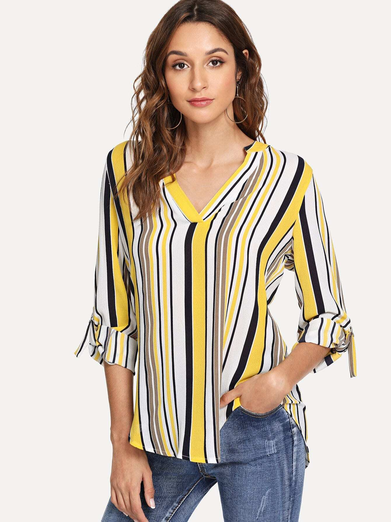 Купить Многоцветный Полосатый Повседневный Блузы+рубашки, Gabi B, SheIn
