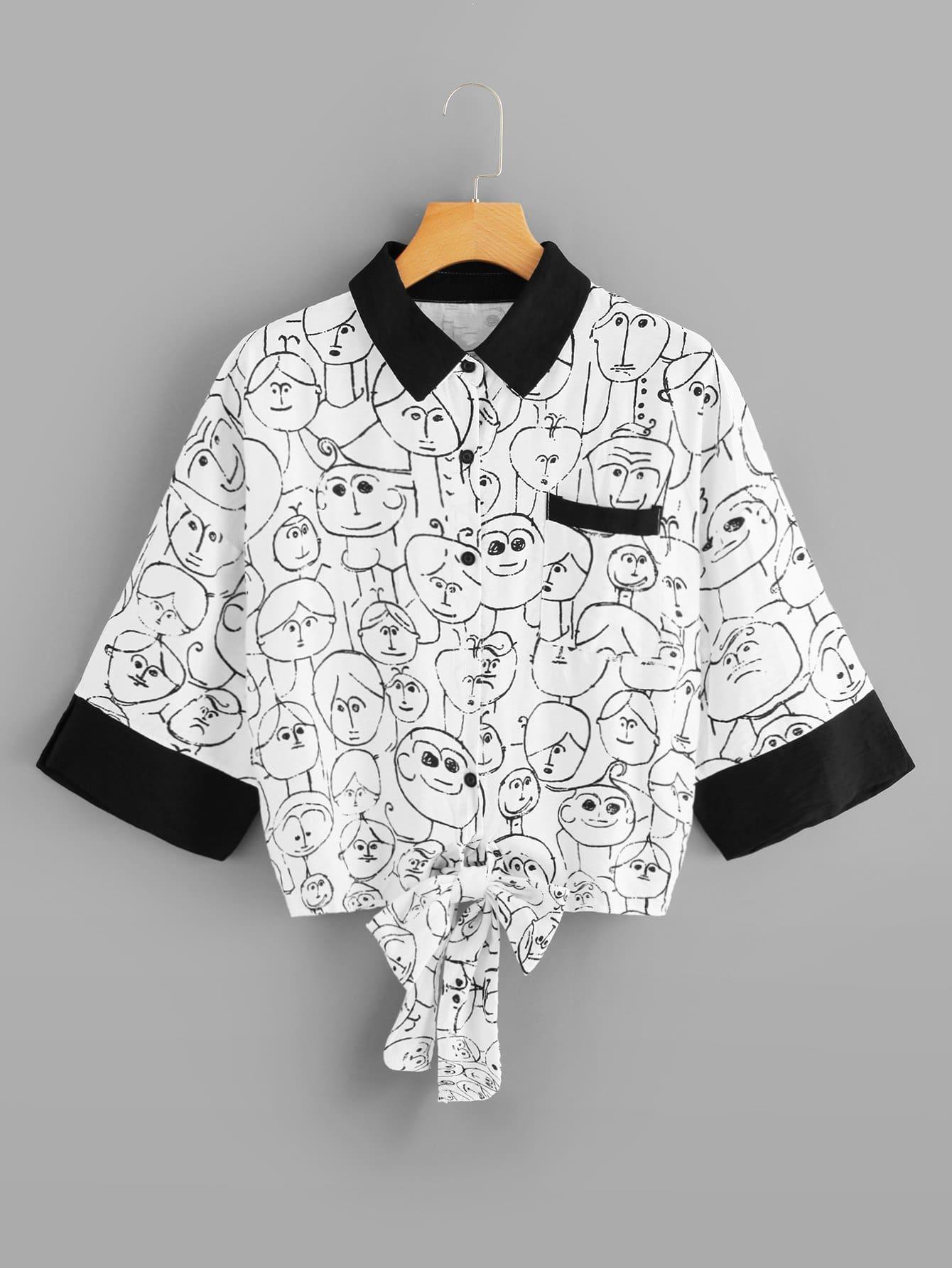 Купить Большая рубашка с рисунками мультипликаций и с украшением банта перед одежды, null, SheIn