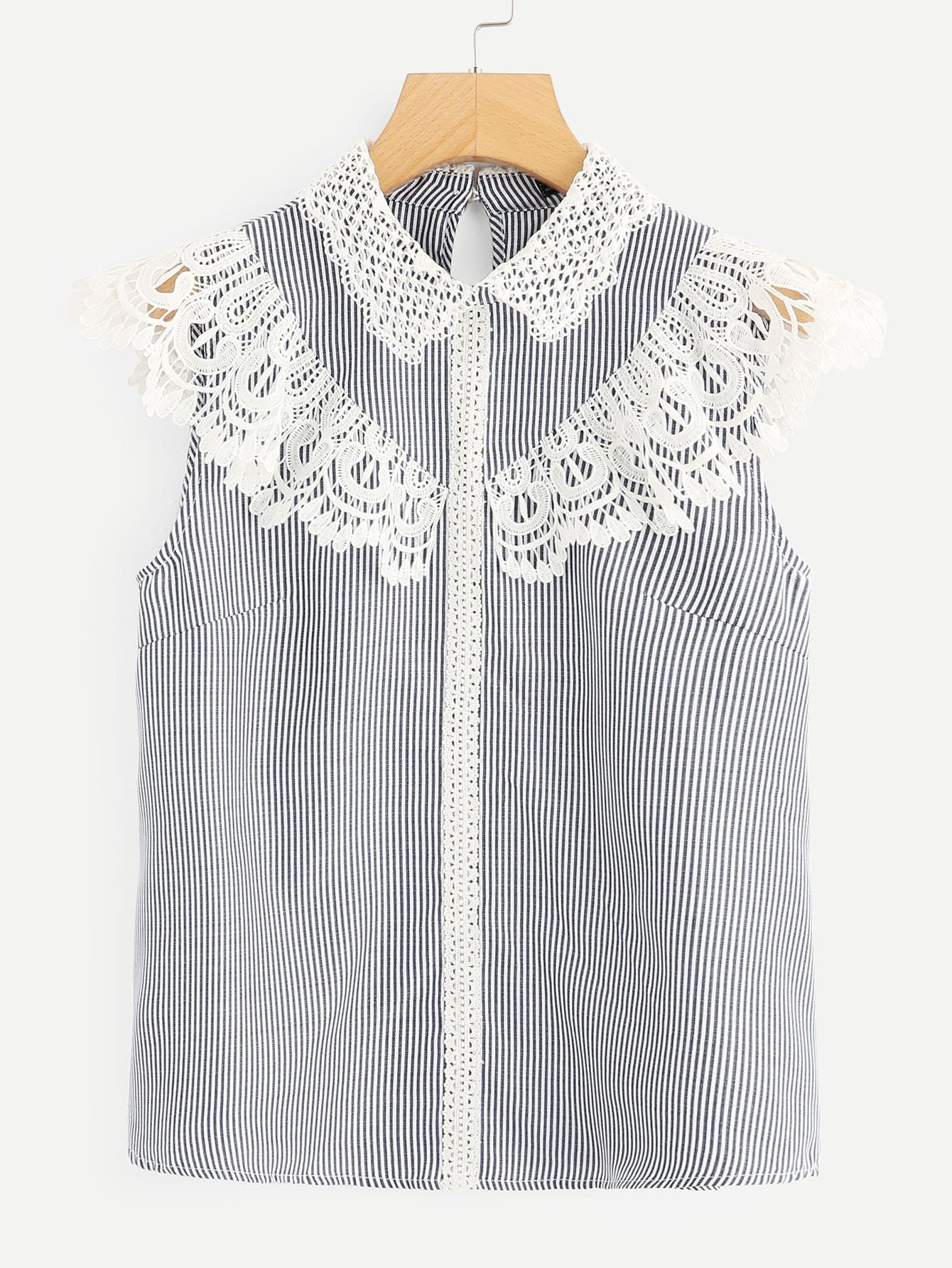 все цены на Lace Trim Striped Top