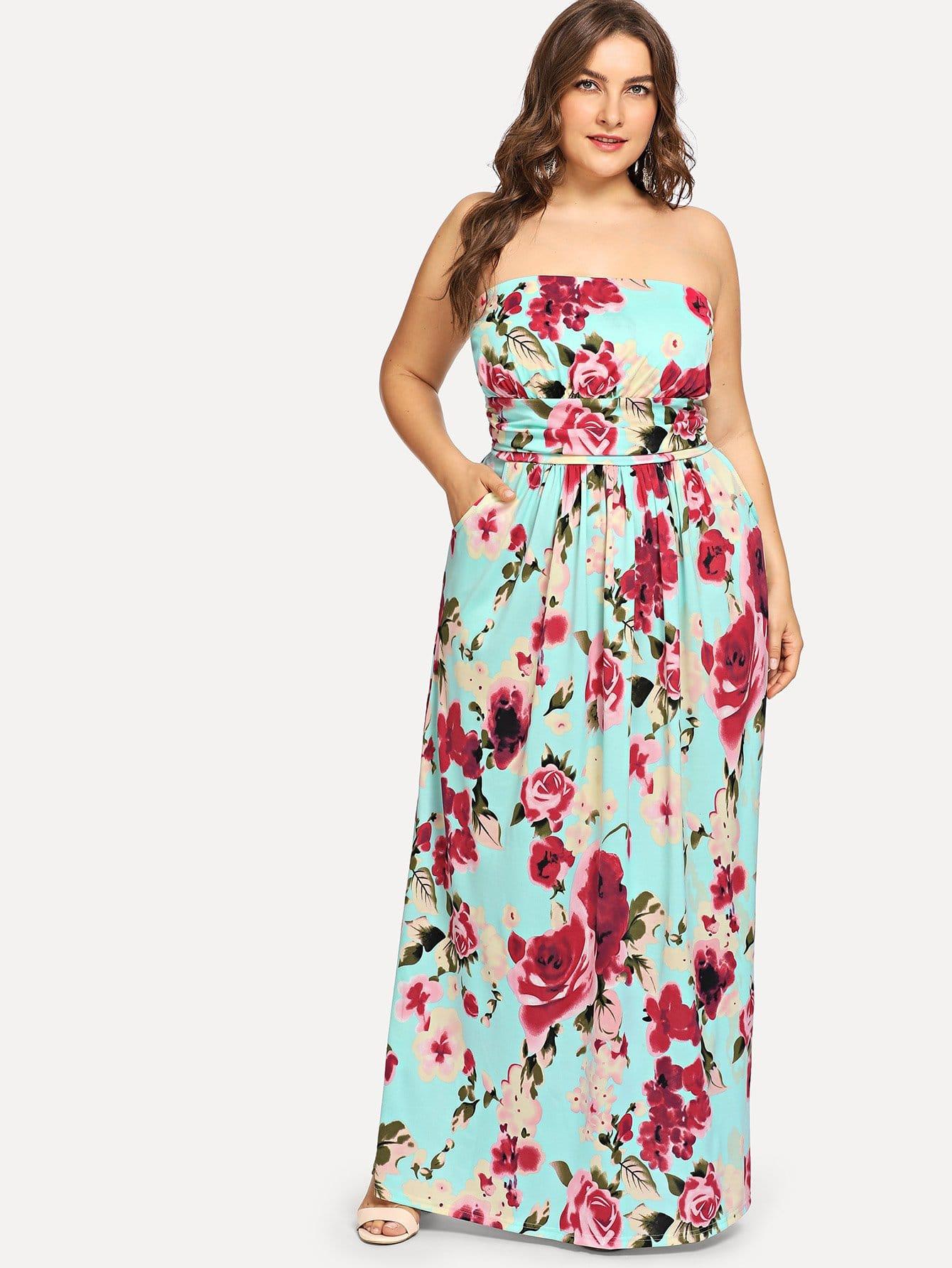 Купить Большое ситцевое платье и без бретелек, Franziska, SheIn