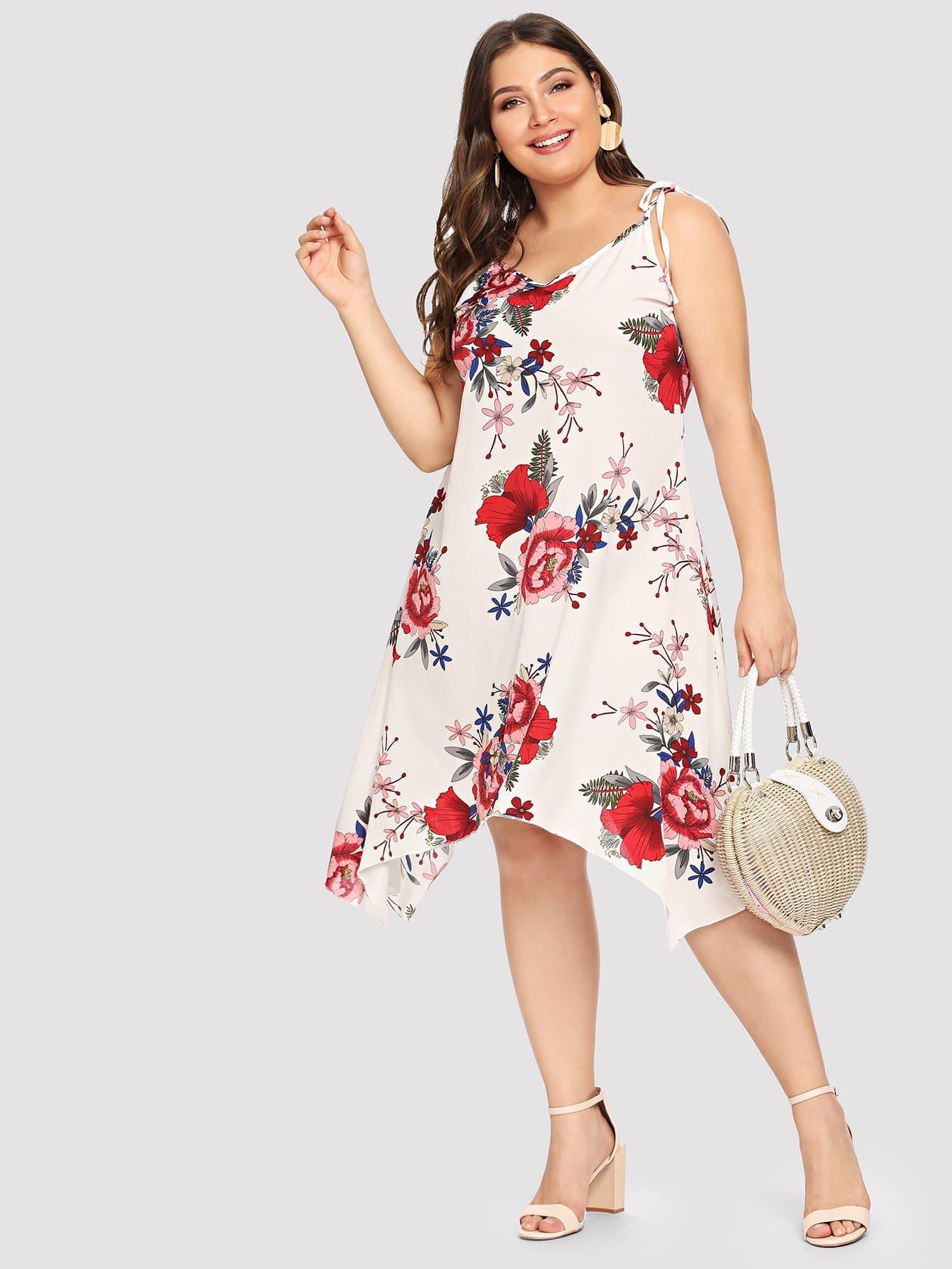 Купить Большое ситцевое платье и с украшением ленты и асимметричный подол, Carol, SheIn