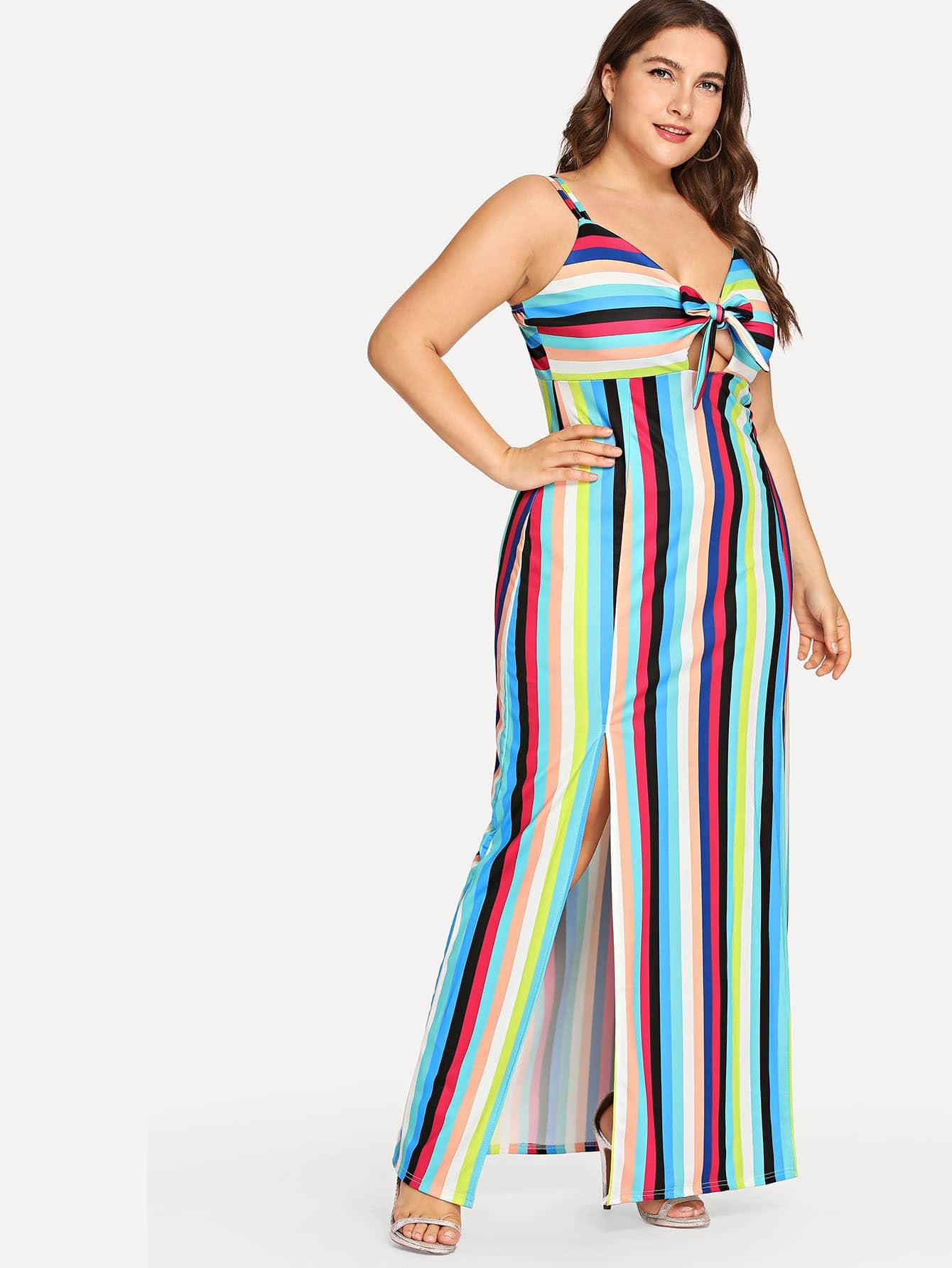 Купить Большое полосатое платье без бретелек и с высоком воротником, Franziska, SheIn