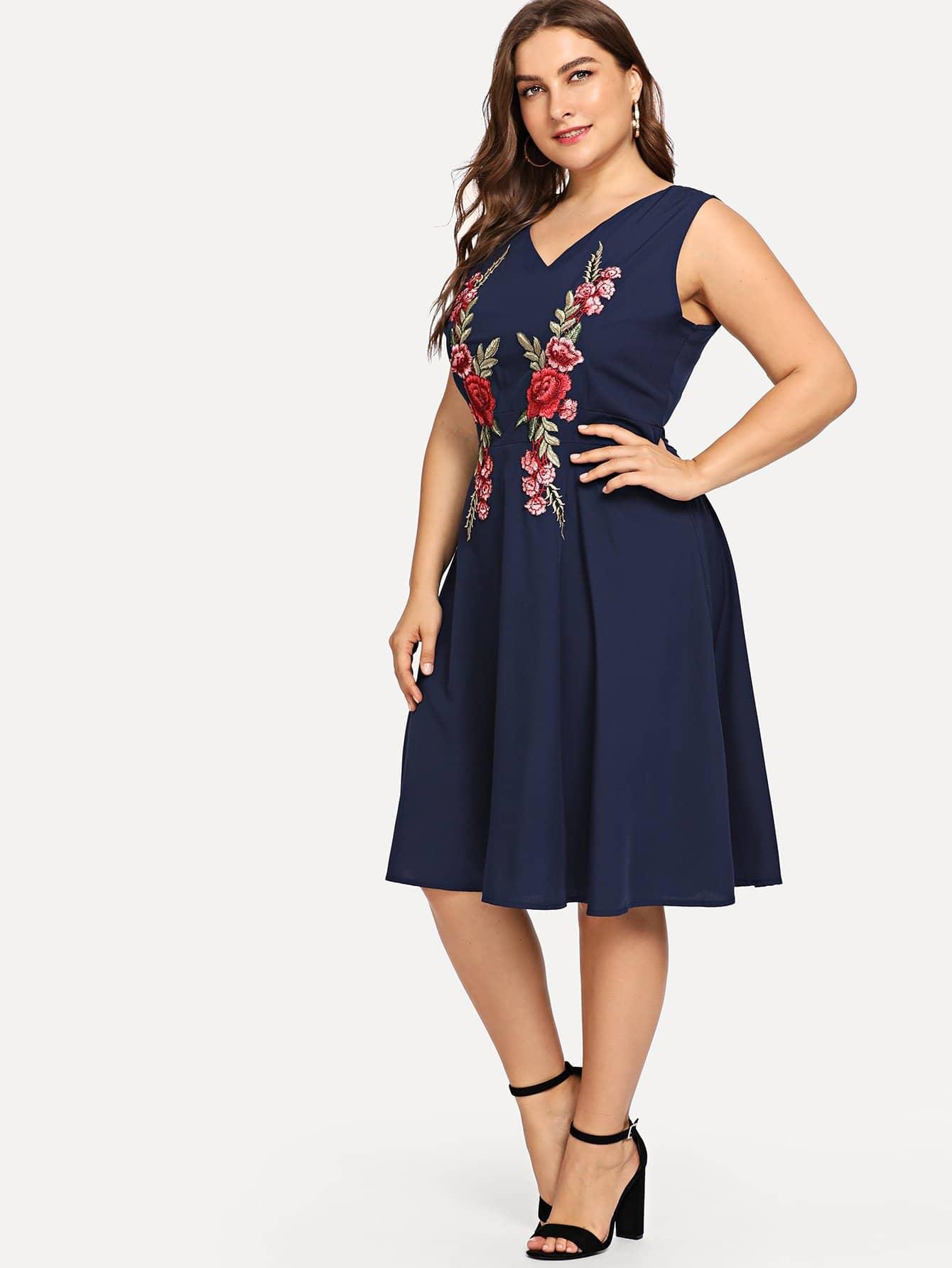 Купить Большое платье и с украшением вышивки и с V воротником, Franziska, SheIn