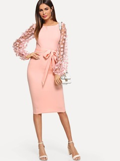 Flower Applique Mesh Sleeve Form Fitting Dress