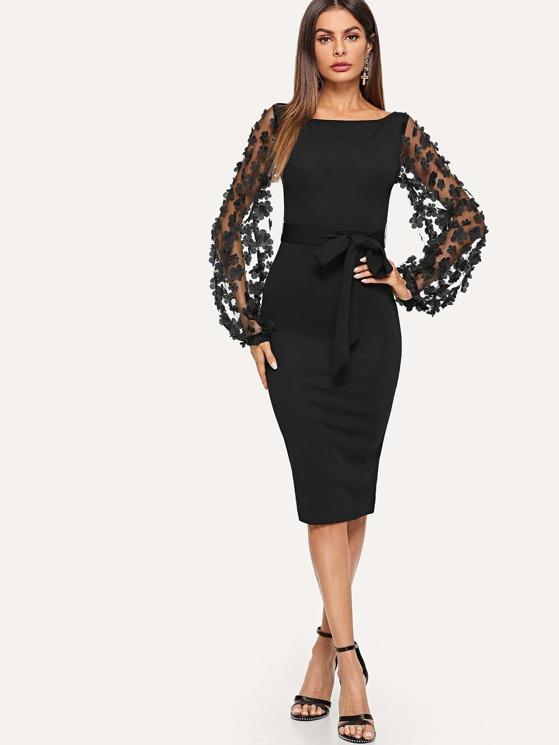 4628384745f2 3D Applique Mesh Sleeve Self Tie Dress