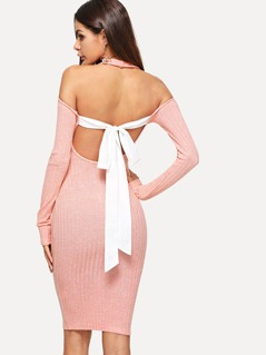 Contrast Bow Tie Open Back Space Dye Dress