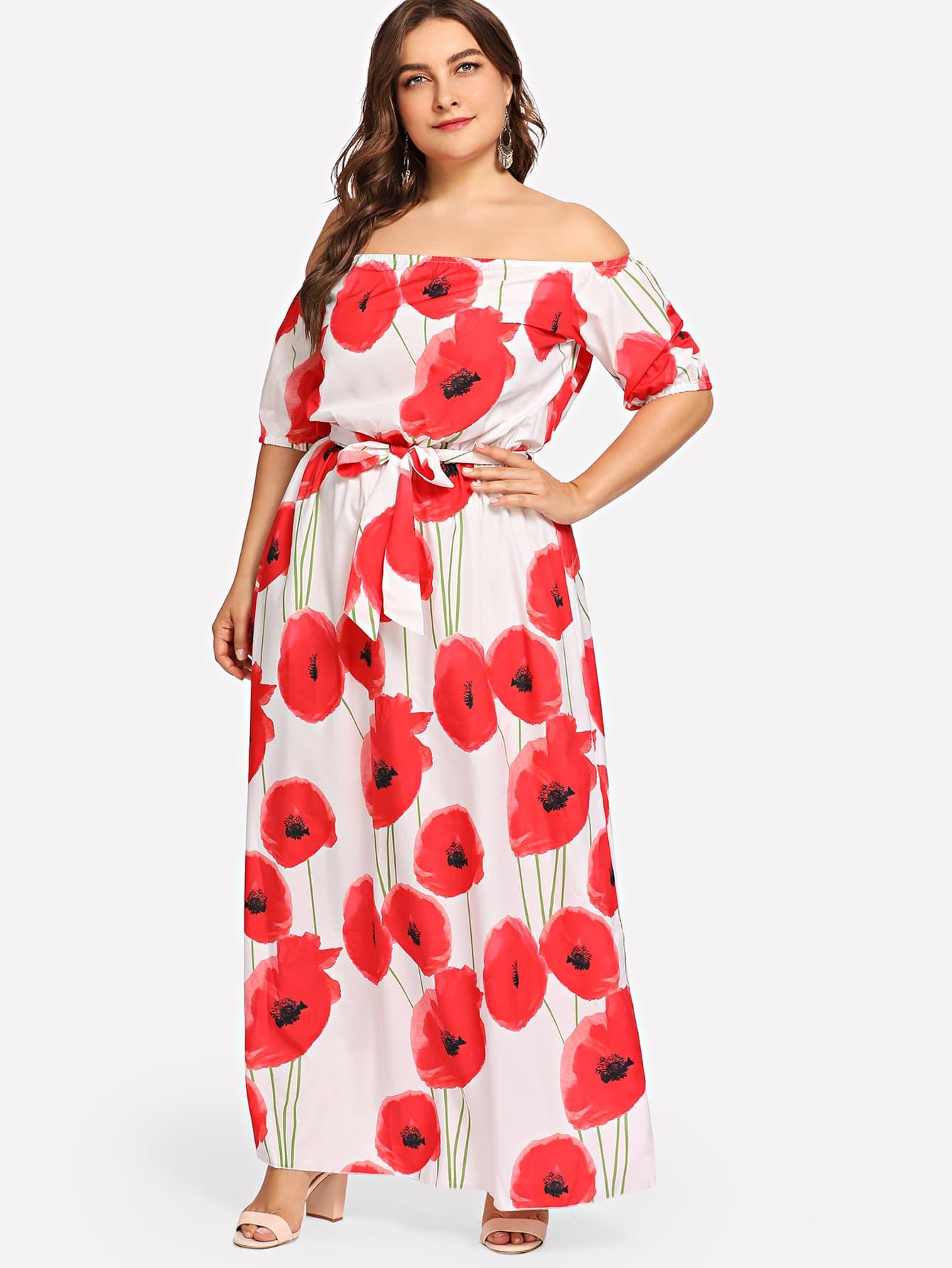 Купить Большое ситцевое длинное платье и с поясом, Franziska, SheIn