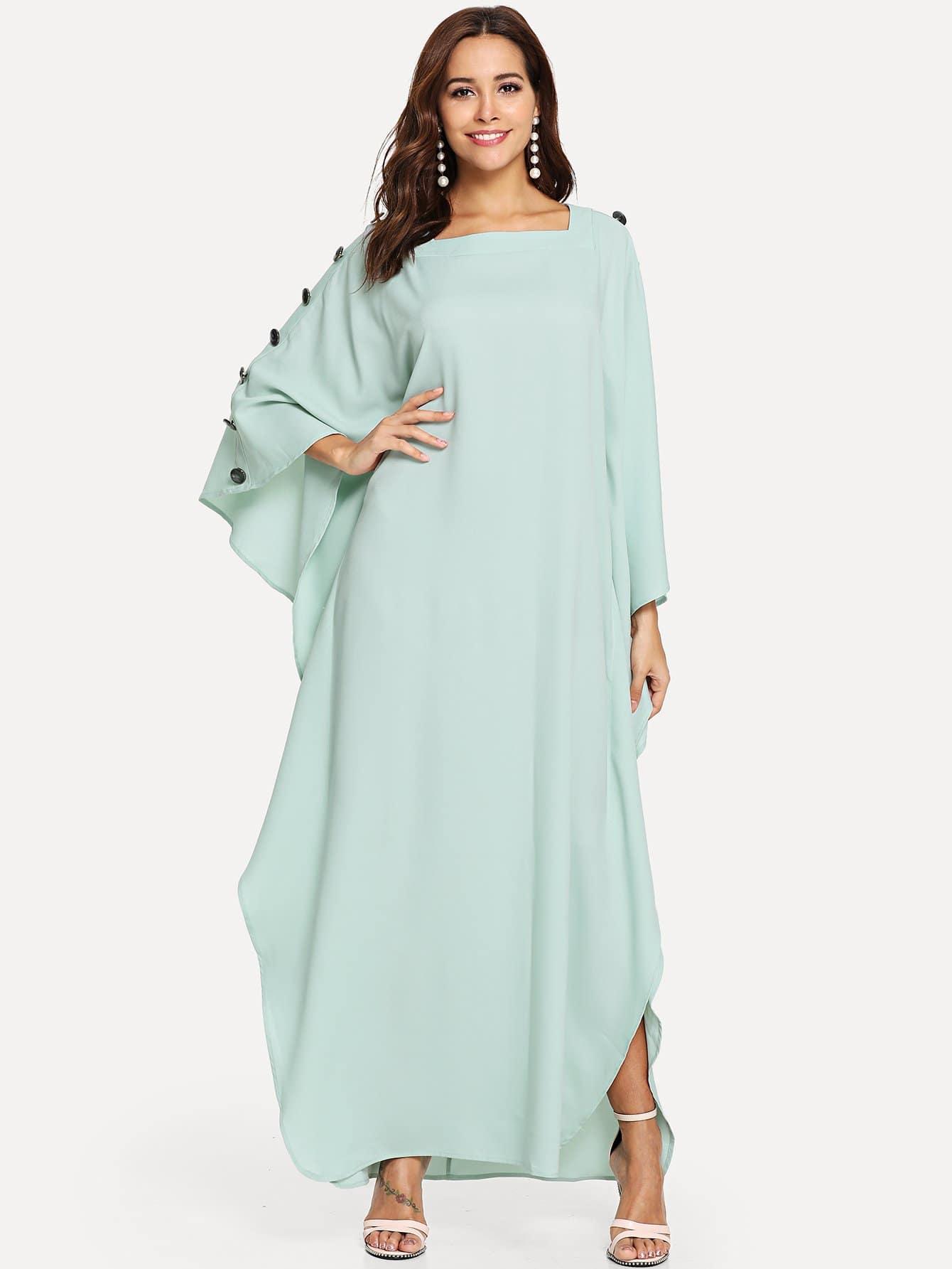 Купить Квадратная шея с пуговицей Batwing Hijab Long Dress, Giulia, SheIn