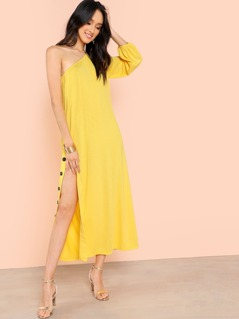 One Shoulder Side Button Split Dress