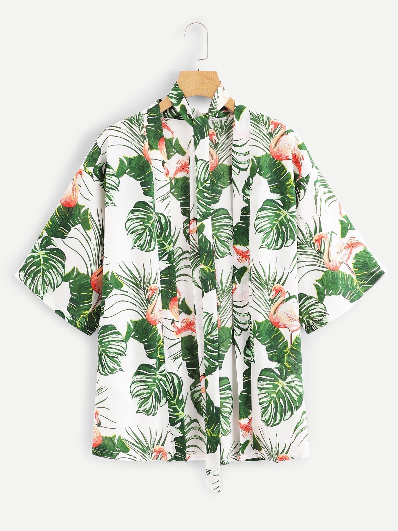 Купить Отпускнойстиль С животными Пояс кимоно Многоцветные Кимоно, null, SheIn