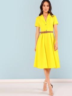 Neon Yellow Notch Collar Fit & Flare Dress