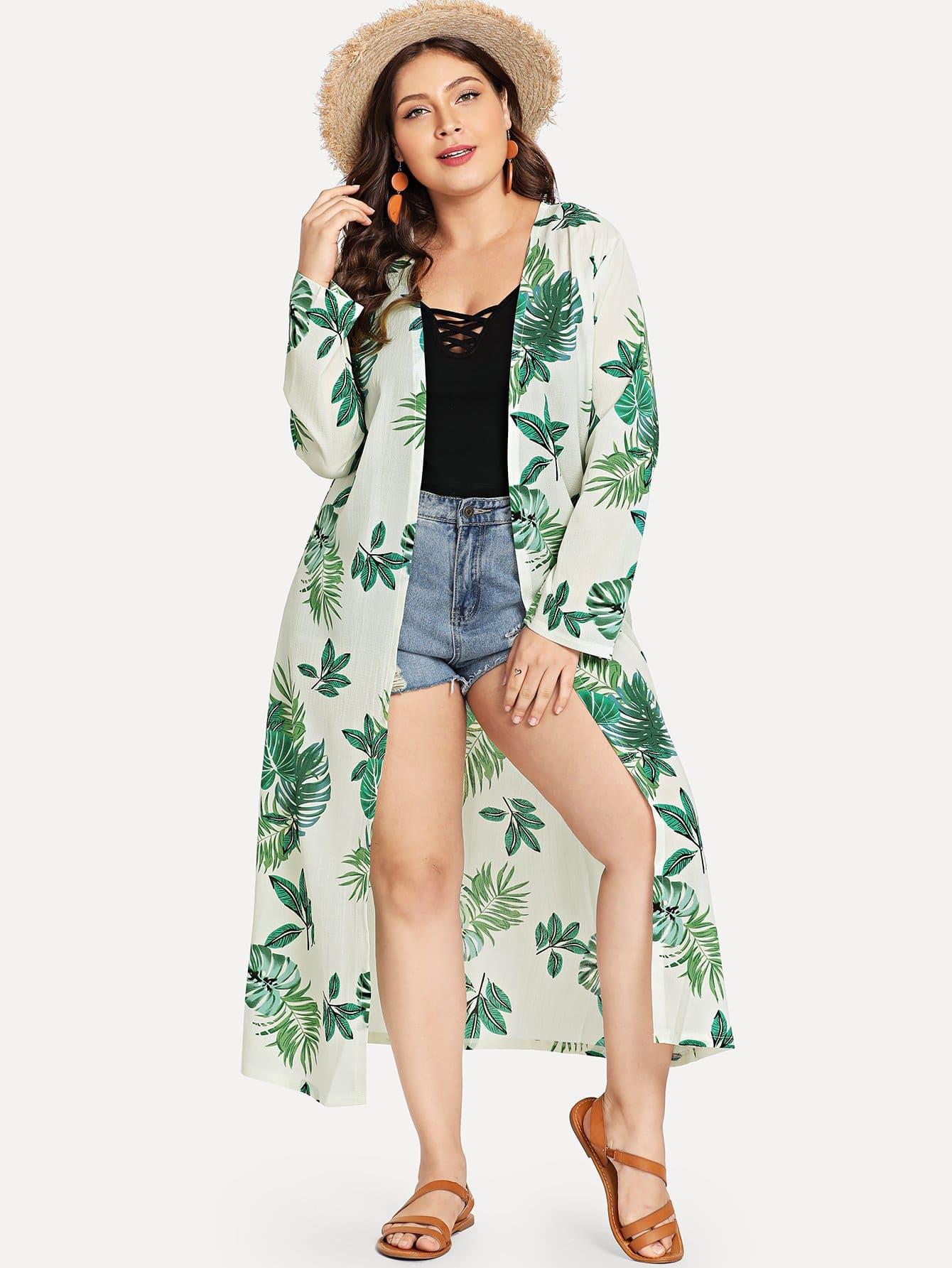 Купить Большое кимоно с рисунками пальм, Carol, SheIn