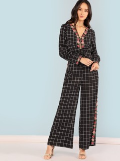 Wide Leg Grid Jumpsuit