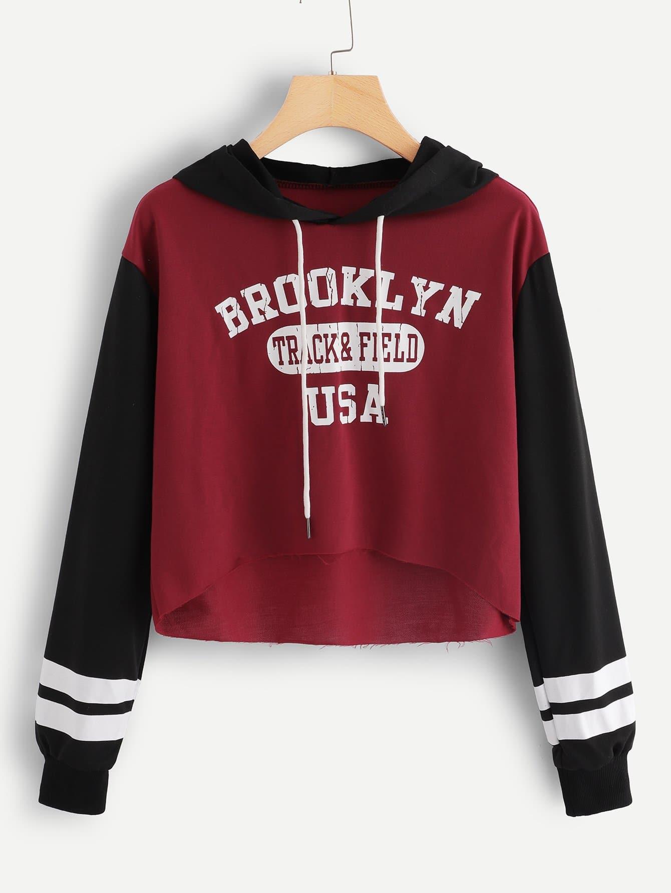 Купить Большая цветная кусковая спортивная футболка и с рисунками буквы, null, SheIn