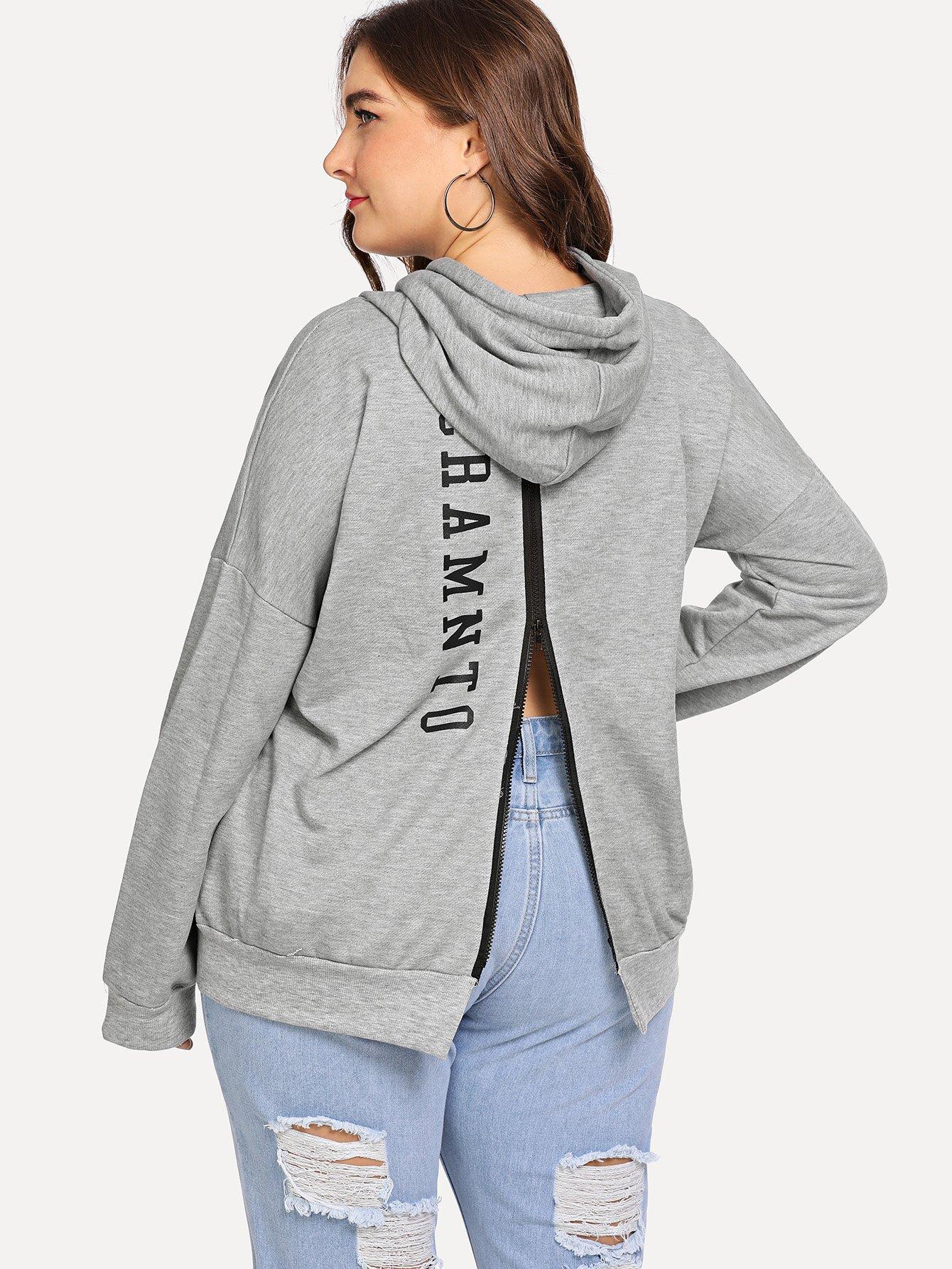 Plus Back Zip Letter Print Sweatshirt