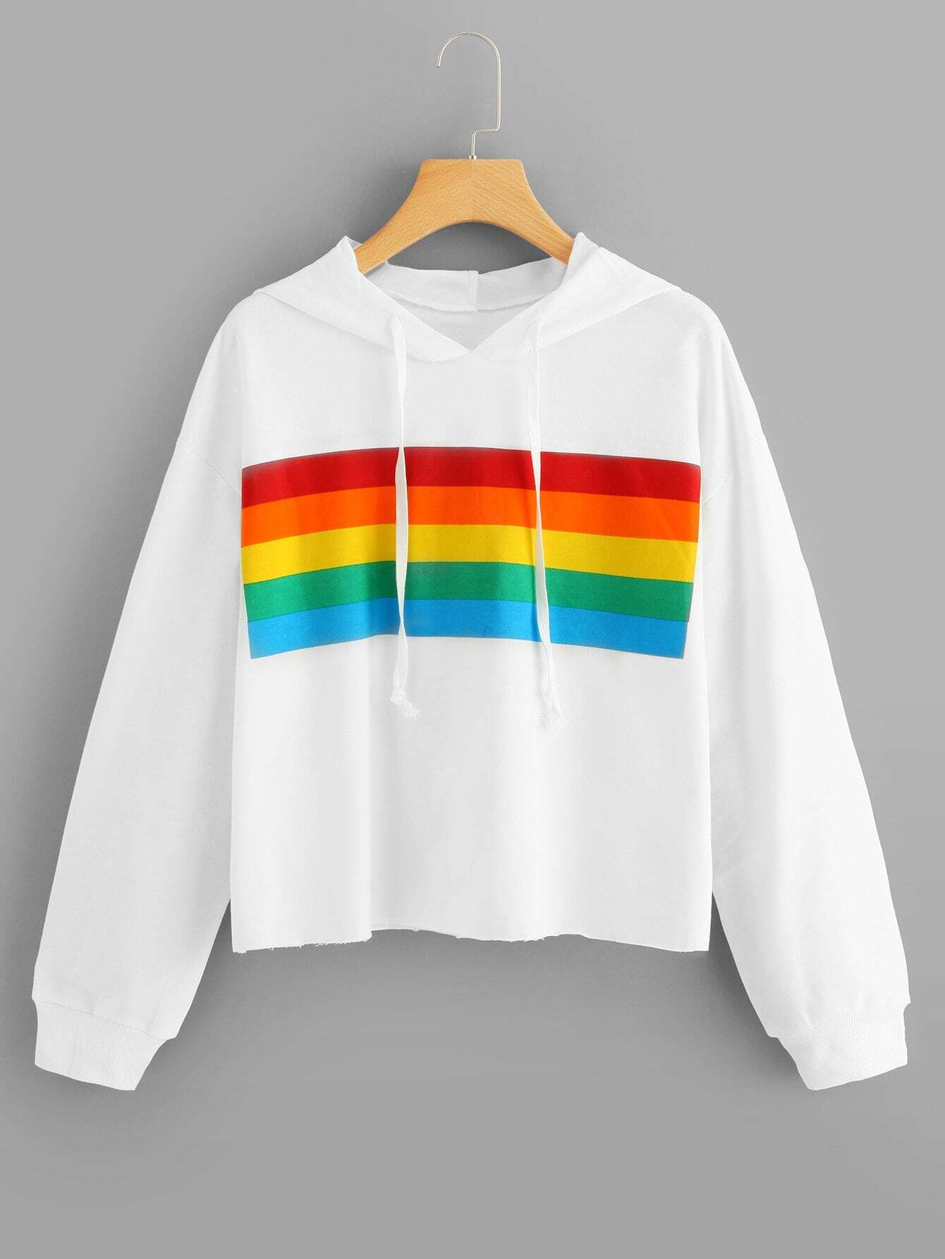 Купить Радужная полосатая спортивная футболка с капюшоном, null, SheIn
