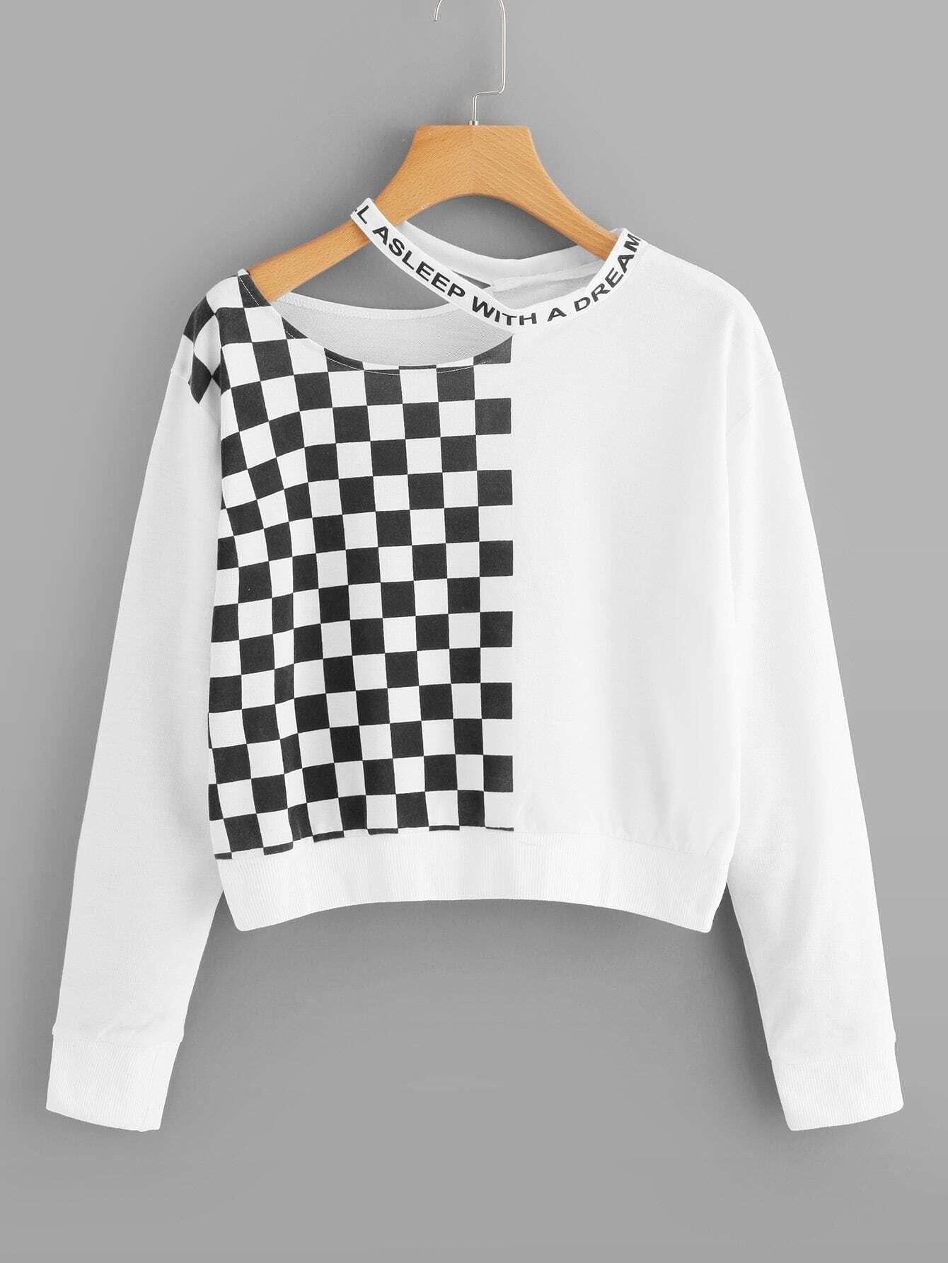 Купить Спортивная футболка с капюшоном и со симметрическими рисунками в клетку, null, SheIn