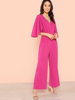 Flutter Sleeve Wrap Jumpsuit