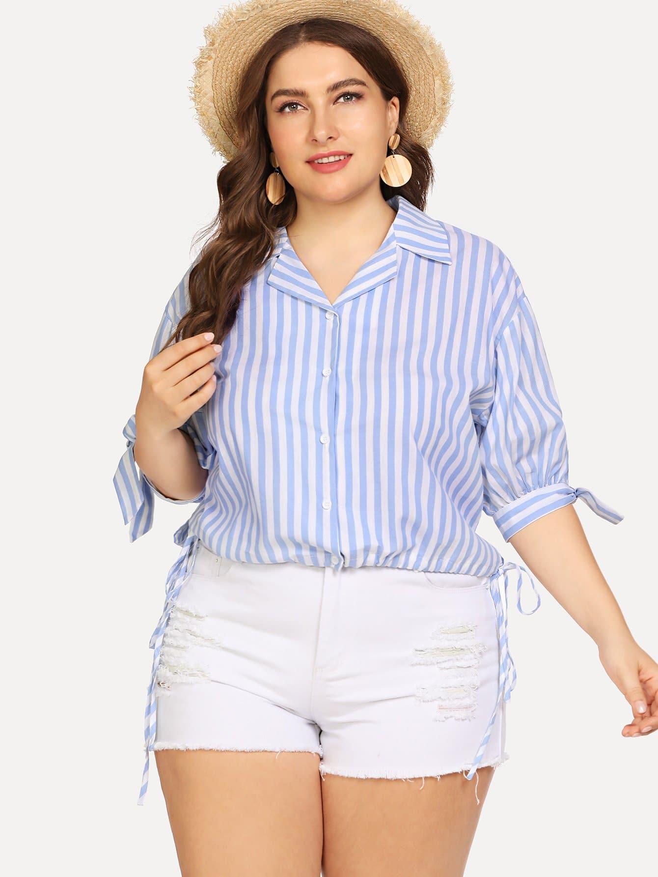 Зубчатая полосатая рубашка с вырезом, Franziska, SheIn  - купить со скидкой