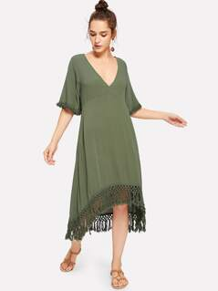 V-Neck Fringe Trim Solid Dress