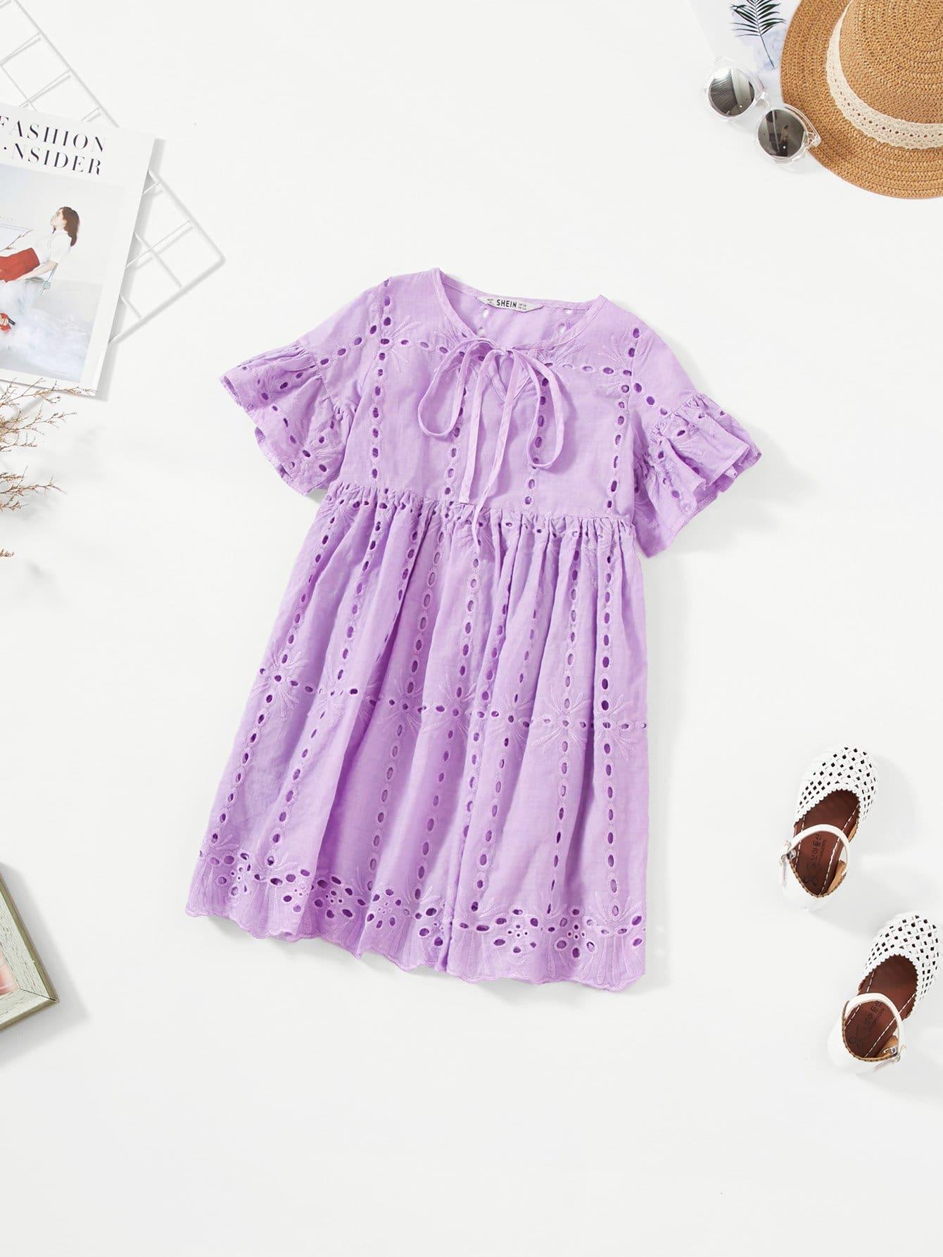 Купить Платье с воротником из вышитого воротника Grils Tie Neck, null, SheIn