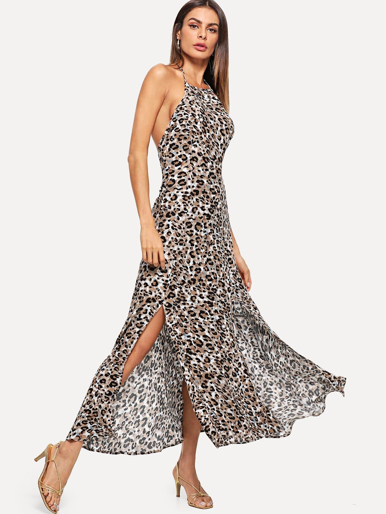 Купить Леопардовое платье Halter, Andy, SheIn