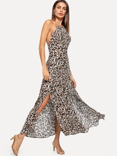 Leopard Print Halter Dress