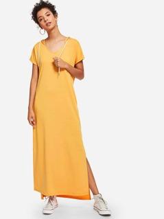 Slit Hem Solid Hoodie Dress
