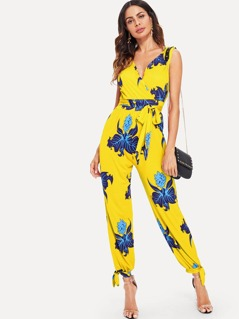 Wrap Front Floral Jumpsuit with Belt
