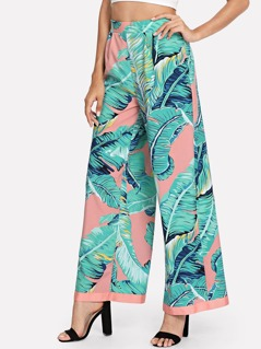 Wide Waistband Tropical Palazzo Pants