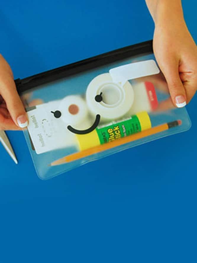 Купить Прозрачный пенал для карандашей и с рисунками смайлика, null, SheIn