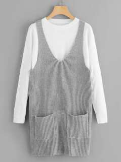 Patch Pocket Knit 2 In 1 Dress
