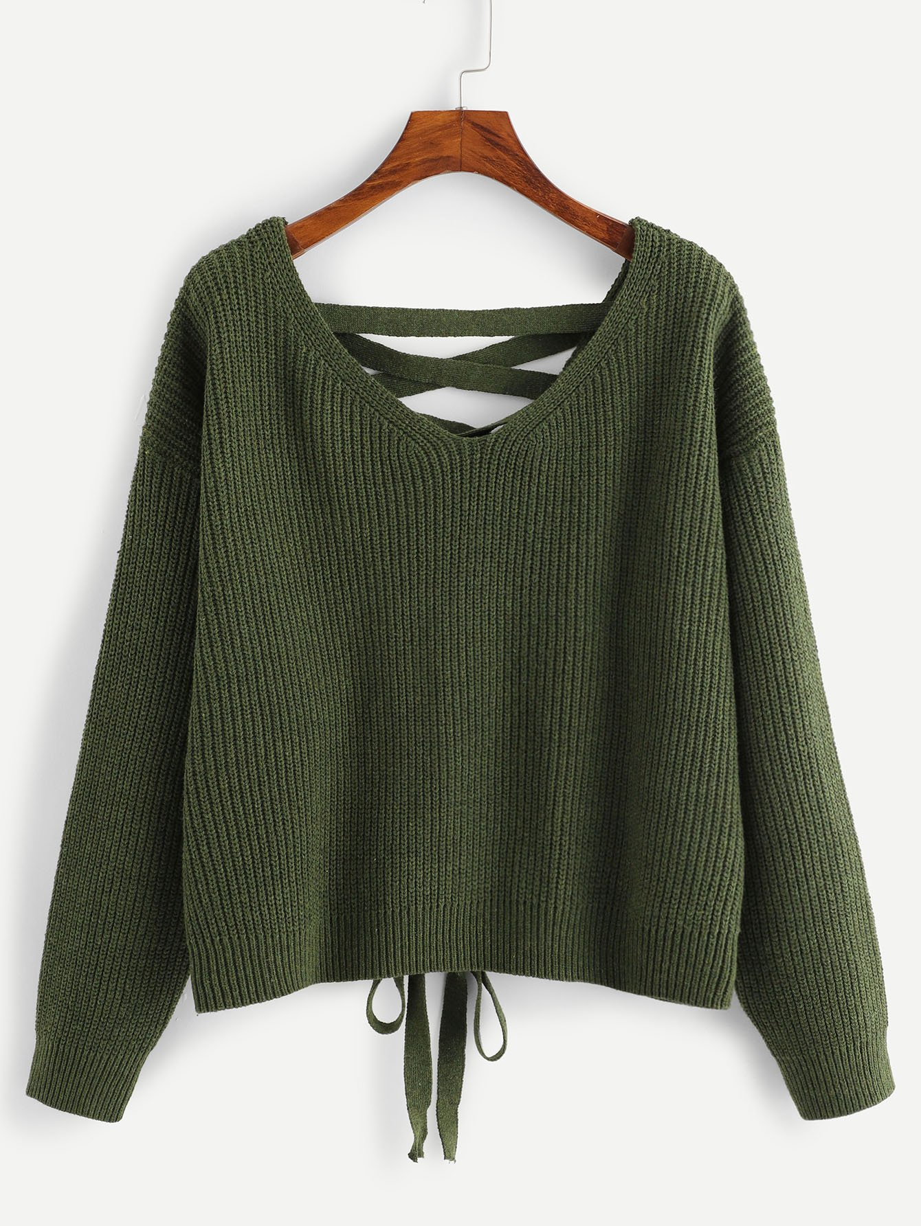 Купить Зашнуруйте вниз плечо плеча свитера, null, SheIn