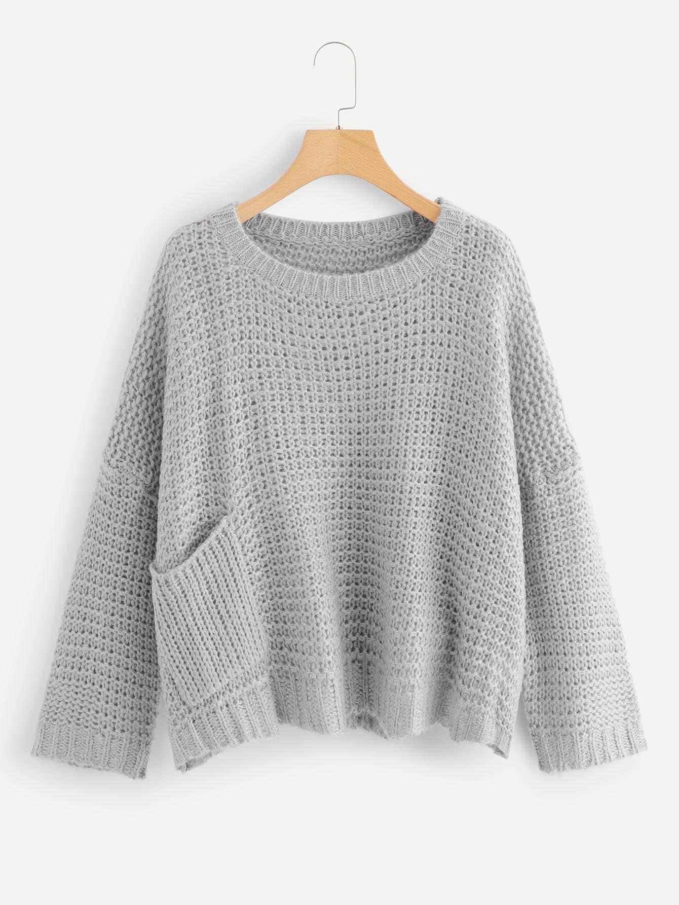 Купить Свободный вязаный карманный патч-свитер, null, SheIn