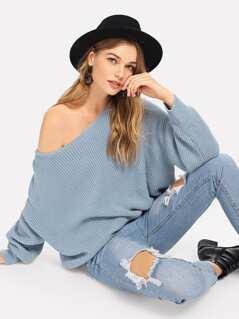 V Cut Open Back Sweater