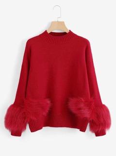 Faux Fur Embellished Solid Jumper