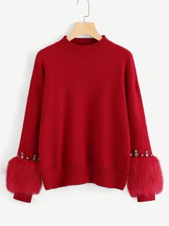 Faux Fur Cuff Rhinestone Embellished Sweater
