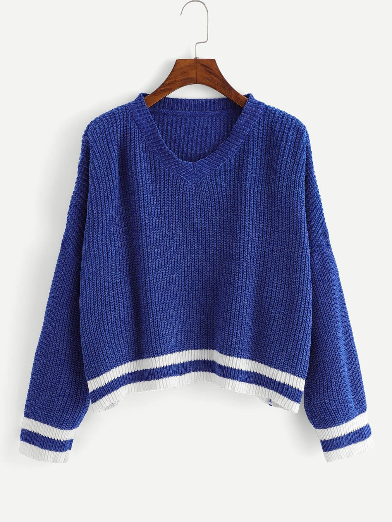 V Neck Striped Trim Jumper