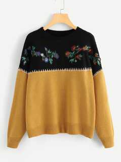Embroidery Flower Applique Two Tone Jumper