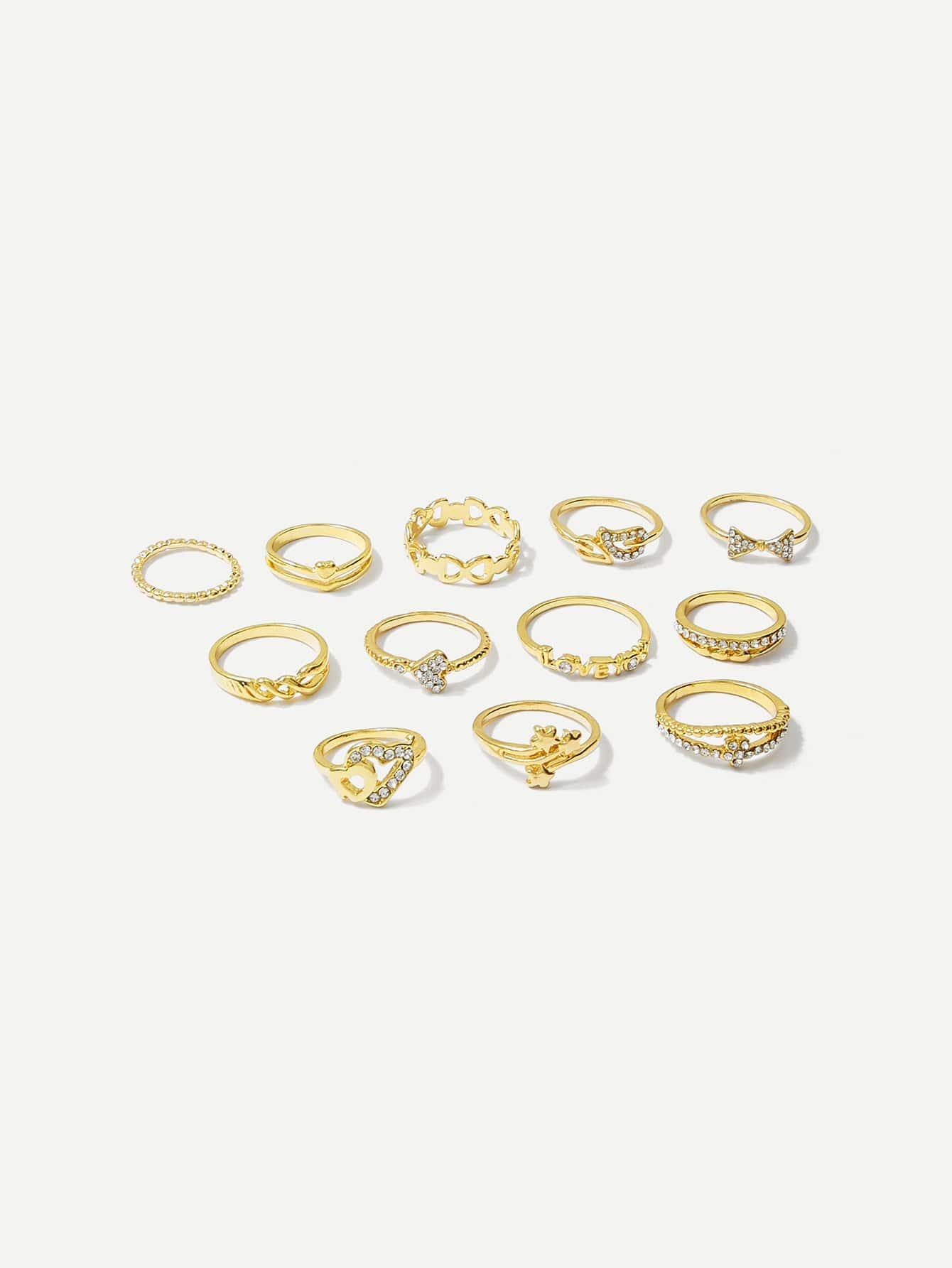 Heart & Star Ring Set 12pcs