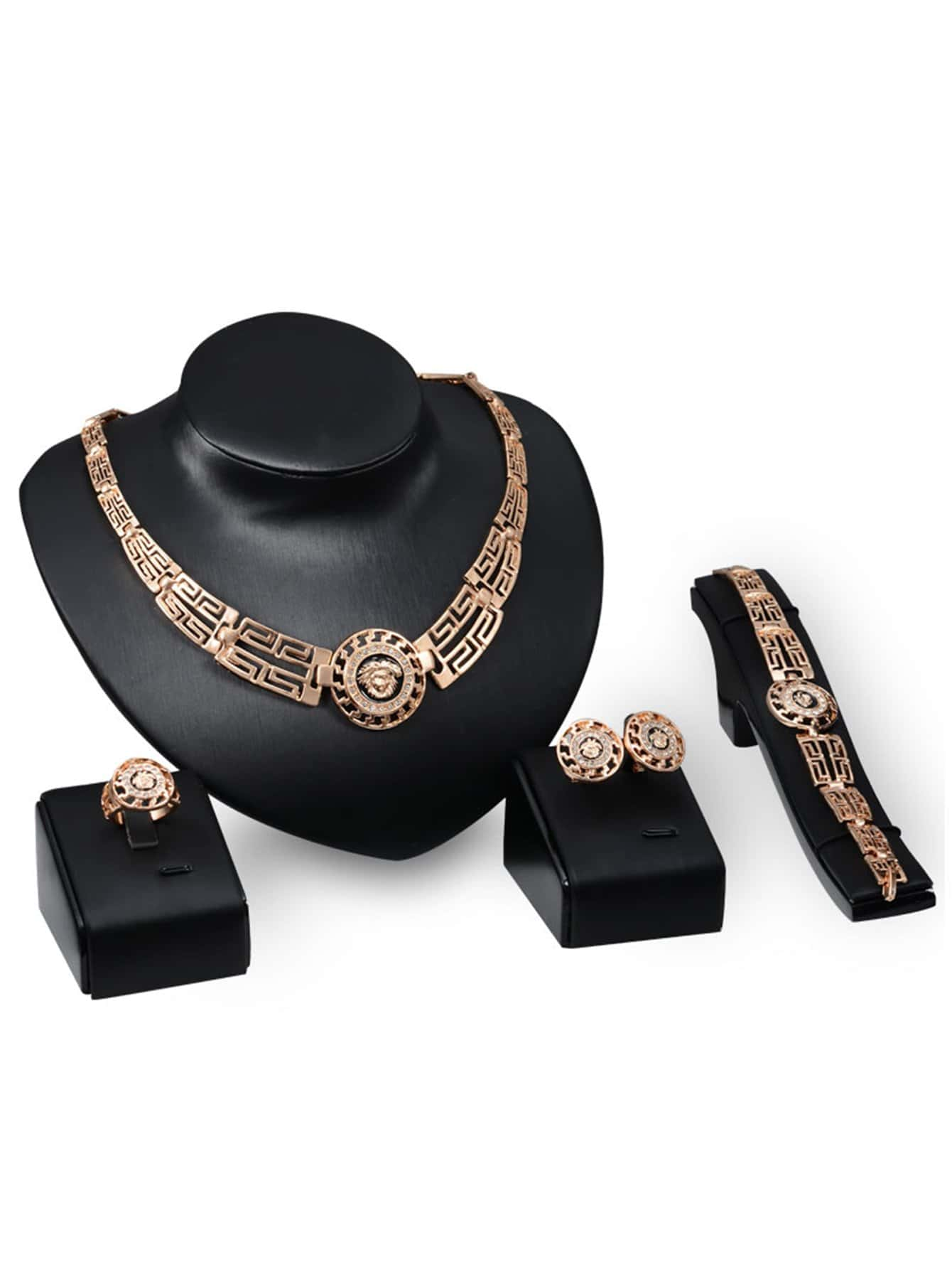 Halskette mit ausgehöhltem rundem Anhänger, Armband, Ring und Ohrringe